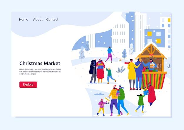 Landingpage-vorlage für den weihnachtsmarkt mit menschen, die zwischen holzkiosken gehen