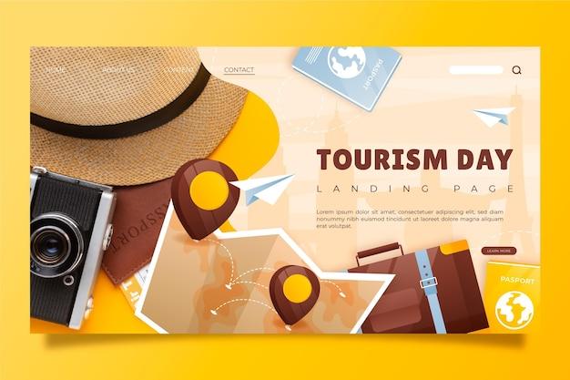 Landingpage-vorlage für den welttourismustag mit farbverlauf mit foto