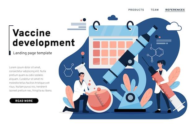 Landingpage-vorlage für die impfstoffentwicklung