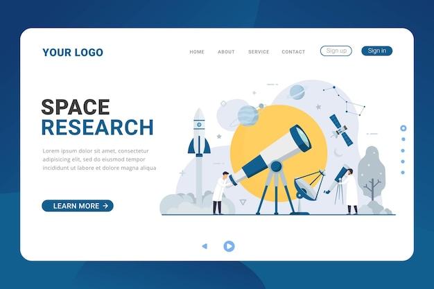 Landingpage-vorlage für die weltraumforschung
