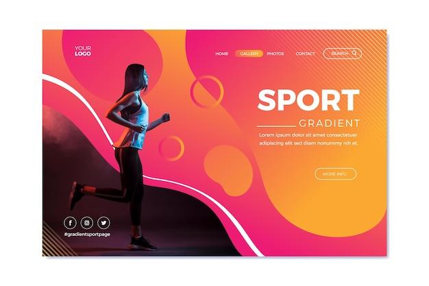 Landingpage-vorlage für farbverlaufssport