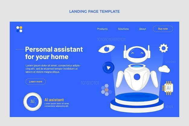 Landingpage-vorlage für flaches design mit minimaler technologie