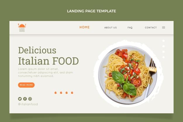 Landingpage-vorlage für flaches essen