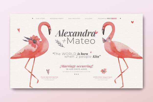 Landingpage-vorlage für hochzeit mit flamingos