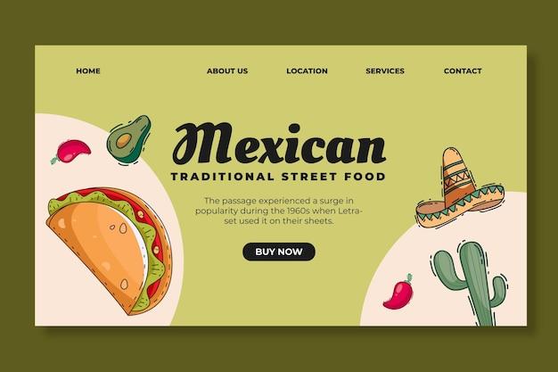 Landingpage-vorlage für mexikanisches essen