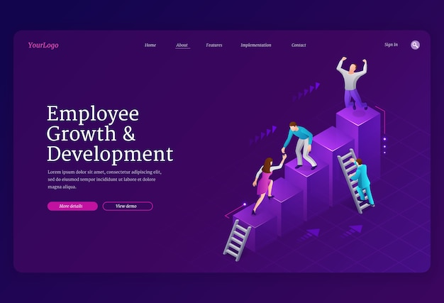 Landingpage-vorlage für mitarbeiterwachstum und -entwicklung