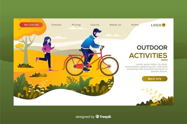 Landingpage-vorlage für outdoor-aktivitäten