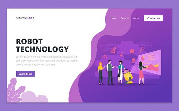 Landingpage-vorlage für robotertechnologie