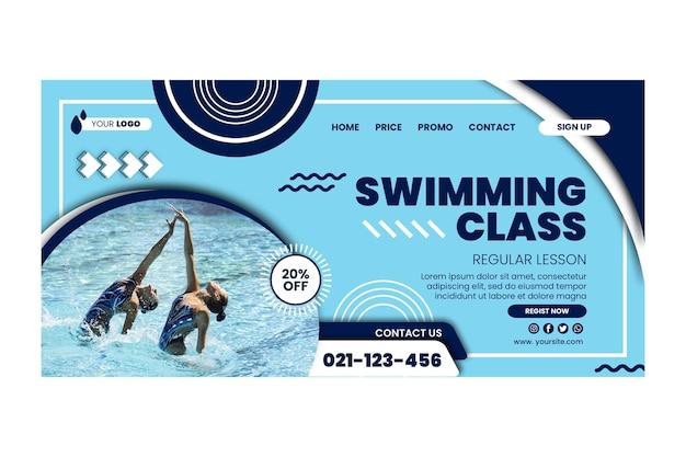 Landingpage-vorlage für schwimmklassen