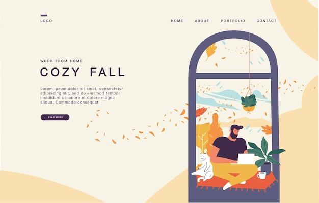Landingpage-vorlage für websites mit jungem mann, der im fenster sitzt