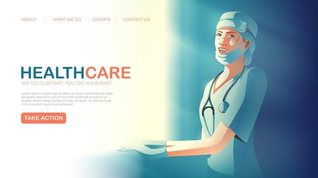 Landingpage-vorlage in der vektorillustration des gesundheitsdienstes, der den lächelnden unermüdlichen gesundheitspersonal kennzeichnet