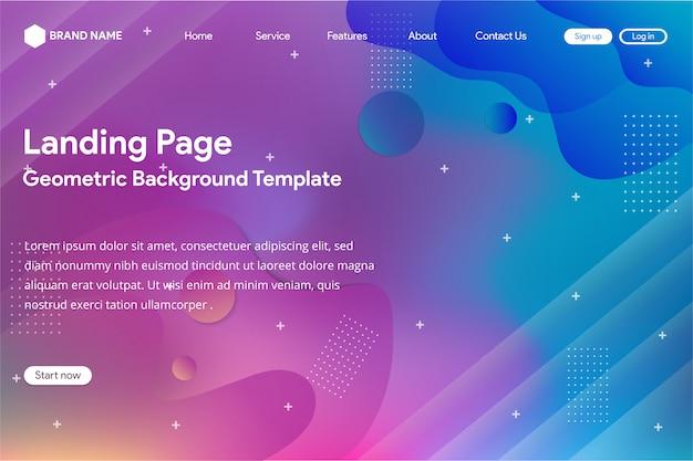 Landingpage-vorlage mit abstrakten verlaufsgitter-design