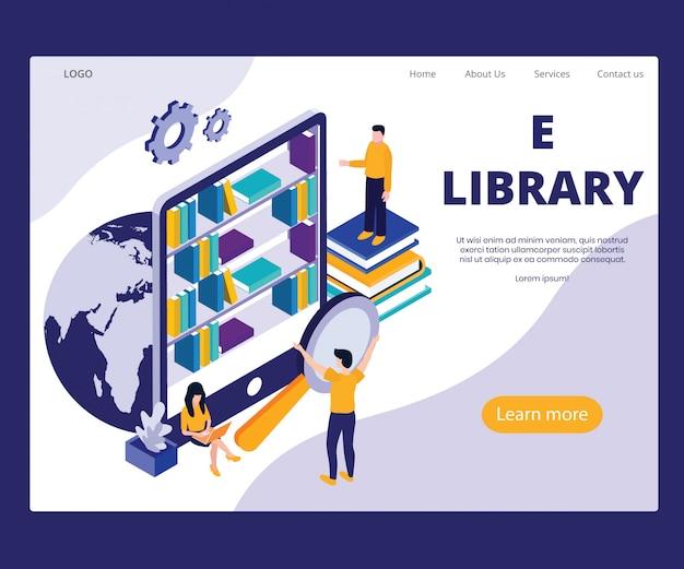 Landingpage-vorlage mit artwork-konzept der e-bibliothek