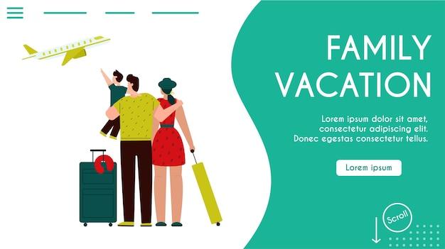 Landingpage-vorlage mit familienurlaub. familienreisende mit kind, das flugflugzeug betrachtet. passagiere vater, mutter und sohn im flughafen mit gepäck