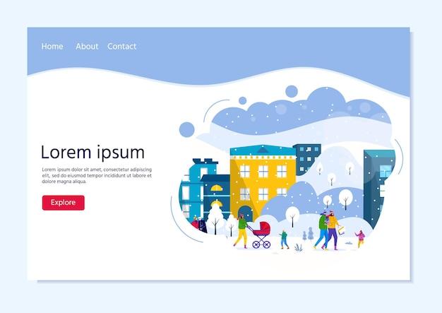Landingpage-vorlage mit leuten, die im winterstadtpark spazieren gehen, eltern gehen mit kindern und haben spaß im freien. vektor für webdesign, flyer, poster, banner, feiertagshintergrund