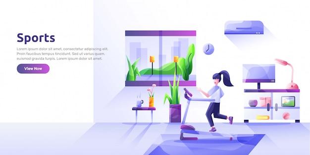 Landingpage-vorlage mit personen, die sportliche aktivitäten und gesundes essen ausführen. gesunde gewohnheiten, aktiver lebensstil, fitness, ernährung. moderne illustration für werbung.