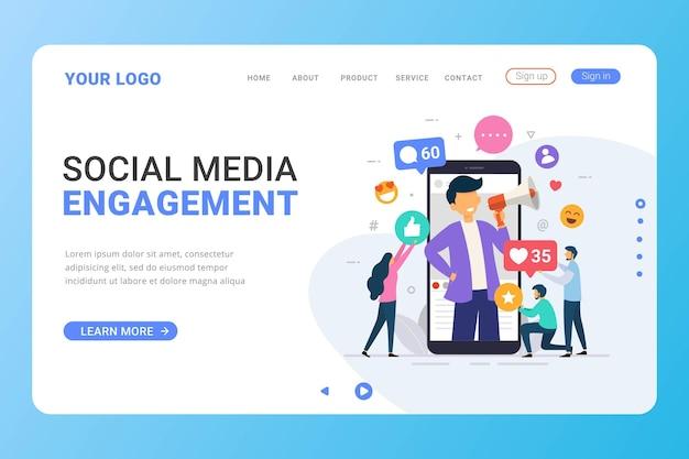 Landingpage-vorlage social media influencer design-konzept