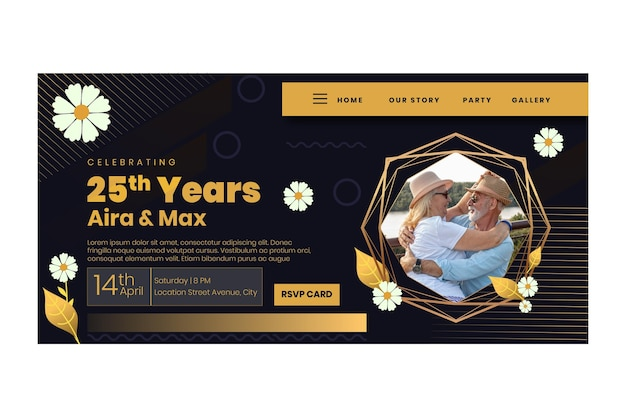 Landingpage-vorlage zum 25-jährigen jubiläum mit blumen