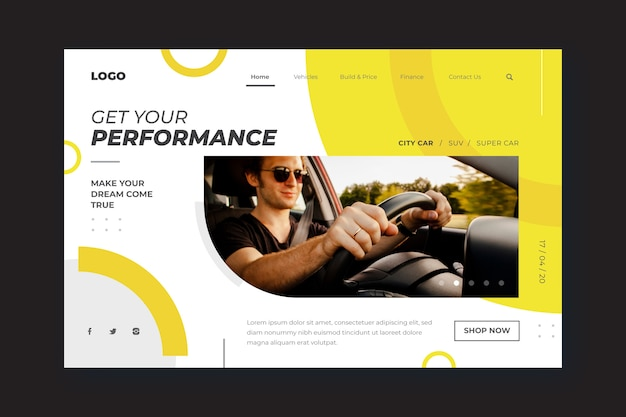 Landingpage-vorlage zum einkaufen von autos mit mann