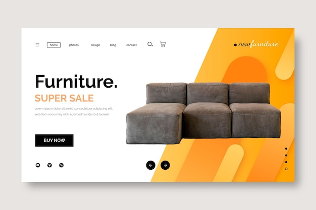 Landingpage zum möbelverkauf