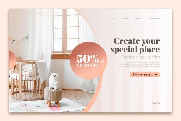 Landingpage zum verkauf von farbverlaufsmöbeln mit foto