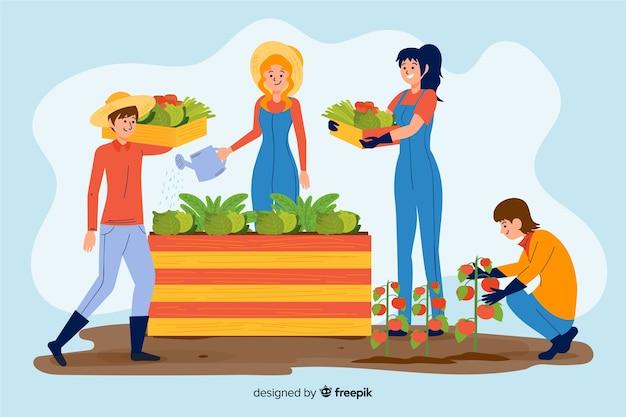 Landleute arbeiten zusammen