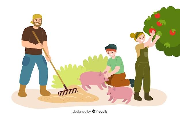 Landleute, die an dem feld arbeiten