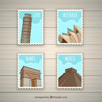 Landmark briefmarken sammlung mit städten und denkmälern