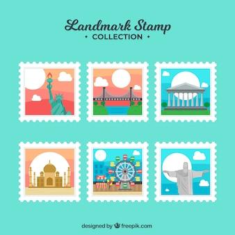 Landmark briefmarken sammlung mit verschiedenen orten