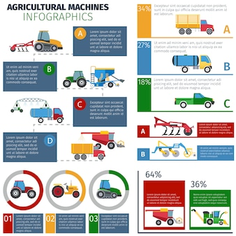 Landmaschinen infographik set