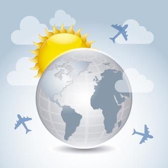 Landreise über himmelhintergrund-vektorillustration