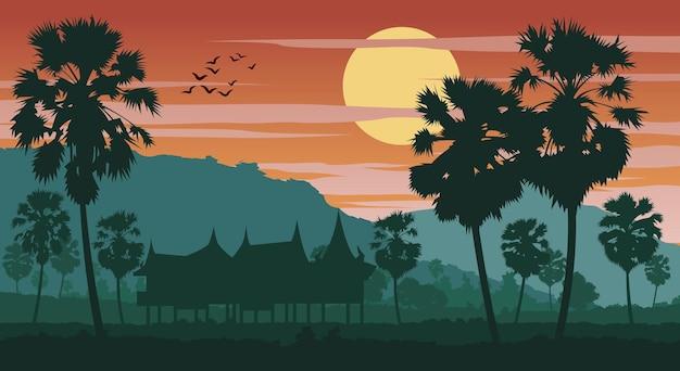 Landschaft asiens auf tropischem gebiet mit palmen und dem haus auf der sonnenuntergangzeitvektorillustration