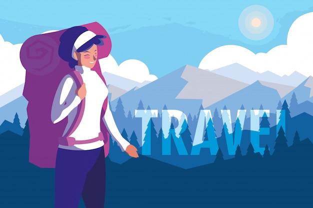 Landschaft bergig mit reisenden