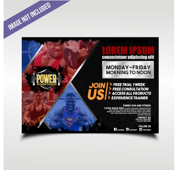 Landschaft blau und rot power gym flyer
