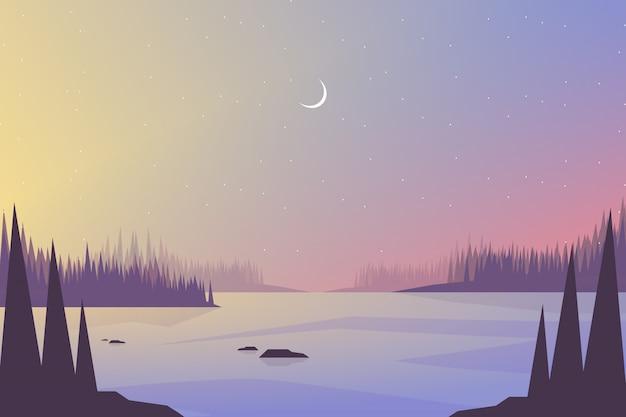 Landschaft bunte himmel- und seelandschaft