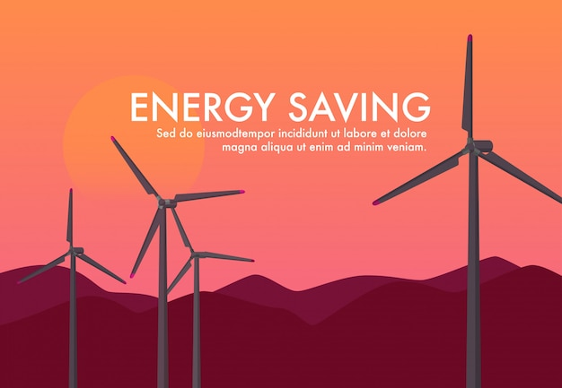 Landschaft der energieenergie-windkraftanlage während sonnenuntergangzeit / -sonnenuntergang. sky-energy saving