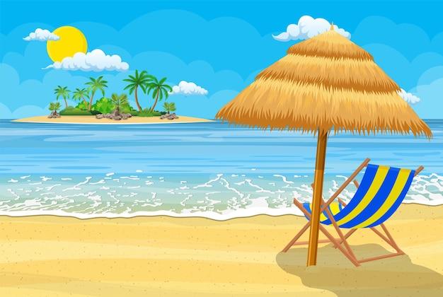 Landschaft der hölzernen chaiselongue, palme am strand. regenschirm. sonne mit wolken. tag im tropischen ort.