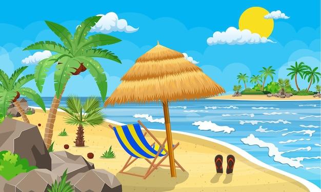 Landschaft der hölzernen chaiselongue, palme am strand. regenschirm