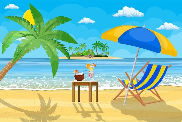 Landschaft der hölzernen chaiselongue, palme am strand.