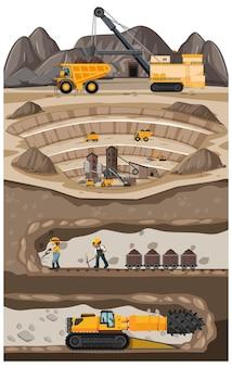Landschaft der kohlebergbauindustrie mit u-bahn
