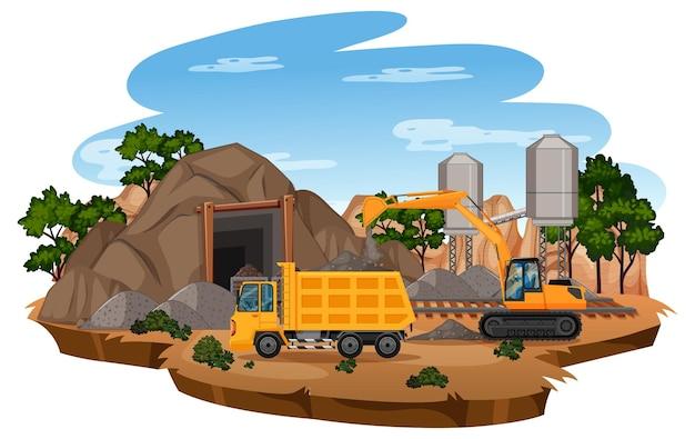 Landschaft der kohlebergbauszene mit kran und lastwagen