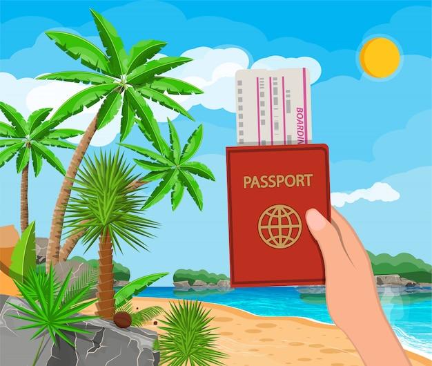 Landschaft der palme am strand, dokumente