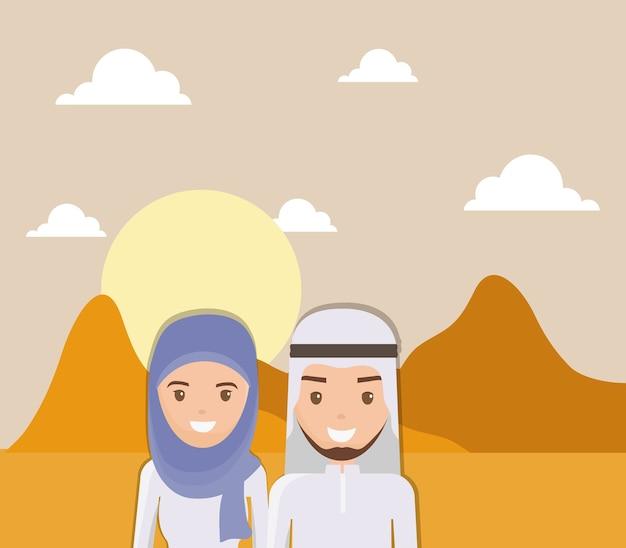 Landschaft der trockenen wüste mit arabischen paaren