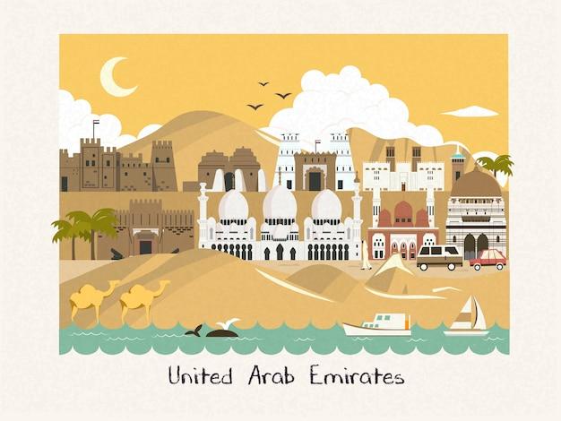 Landschaft der vereinigten arabischen emirate mit moscheen in der wüste