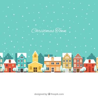 Landschaft der weihnachtsstadt mit häusern