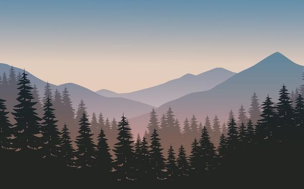 Landschaft des berges mit wald