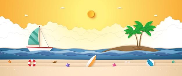 Landschaft des bootssegelns auf welligem meer mit kokospalme auf der insel und sommerzeug am strand in pape