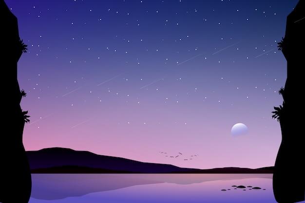 Landschaft des bunten sternenklaren nächtlichen himmels