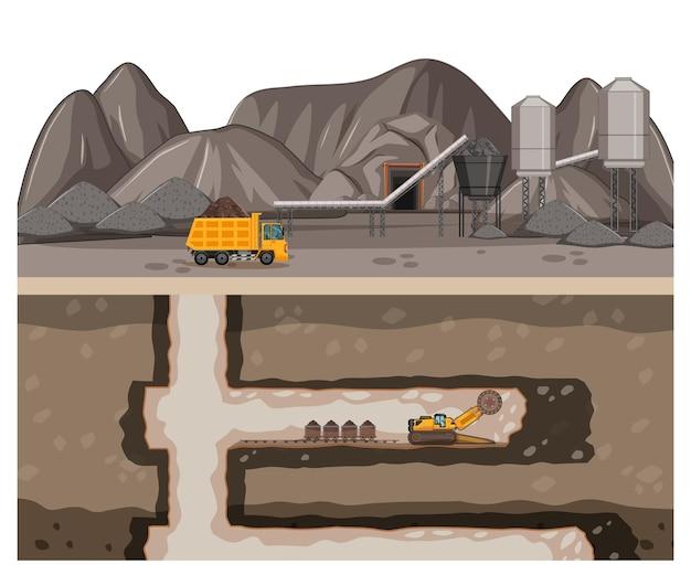 Landschaft des kohlebergbaus mit unterirdischer szene