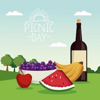 Landschaft des picknicktages mit flaschenwein und früchten im gras